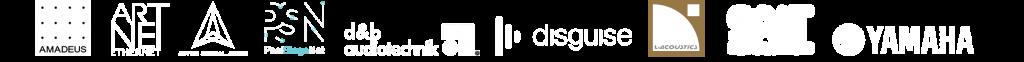 Partner logos Amadeus, ArtNet, Astro, d&b, Disguise, L-Acoustics, PosiStageNet, Spat, Yamaha